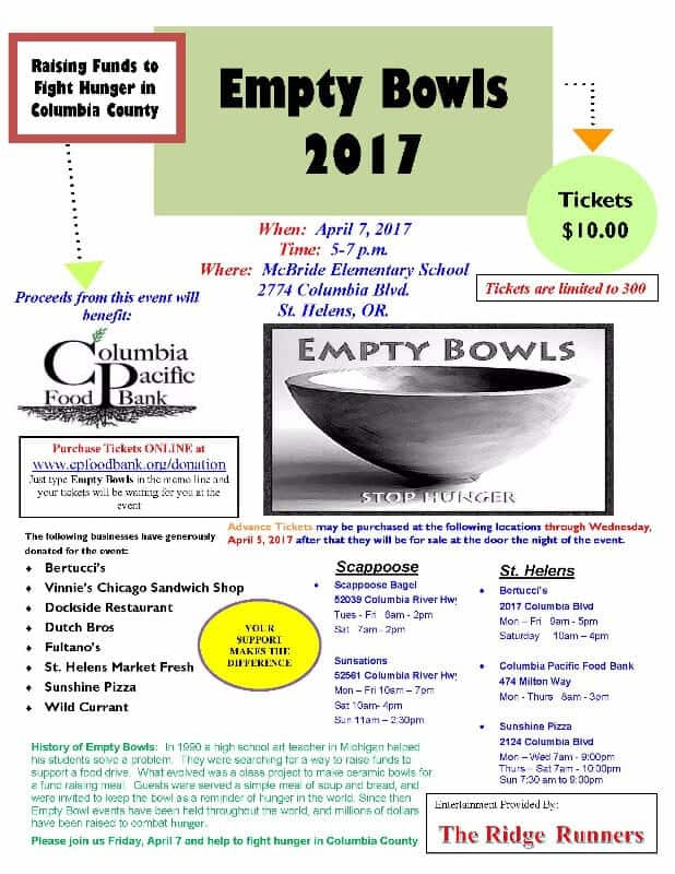 Empty Bowls Keep It Local Columbia County